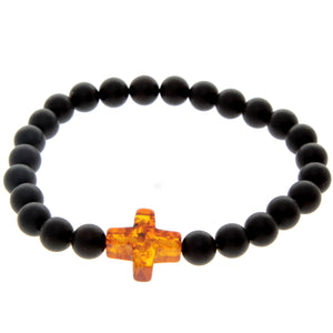 Genuine Baltic Amber Elastic Bracelet for Men with Amber Cross - MB010S