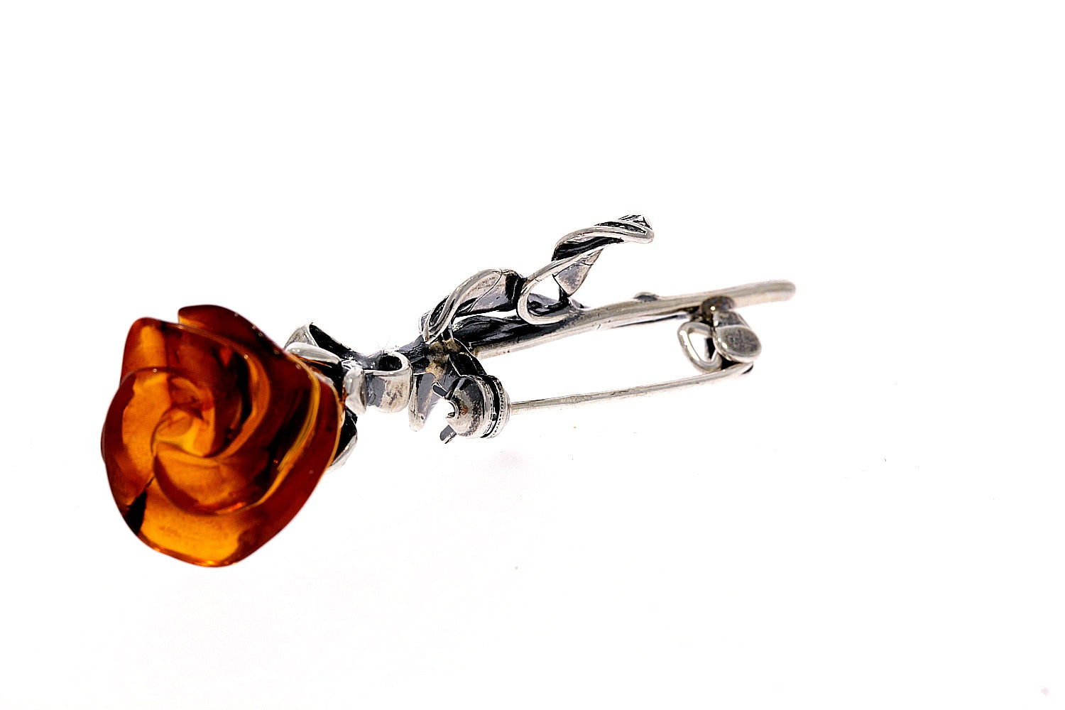 925 Sterling Silver & Baltic Amber Unique Rose Brooch - BR1