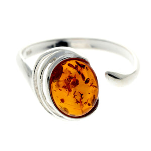 925 Sterling SIlver & Baltic Amber Modern Ring Adjustable - GL433