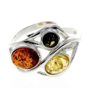 925 Sterling Silver & Baltic Amber Modern Adjustable Ring - GL481