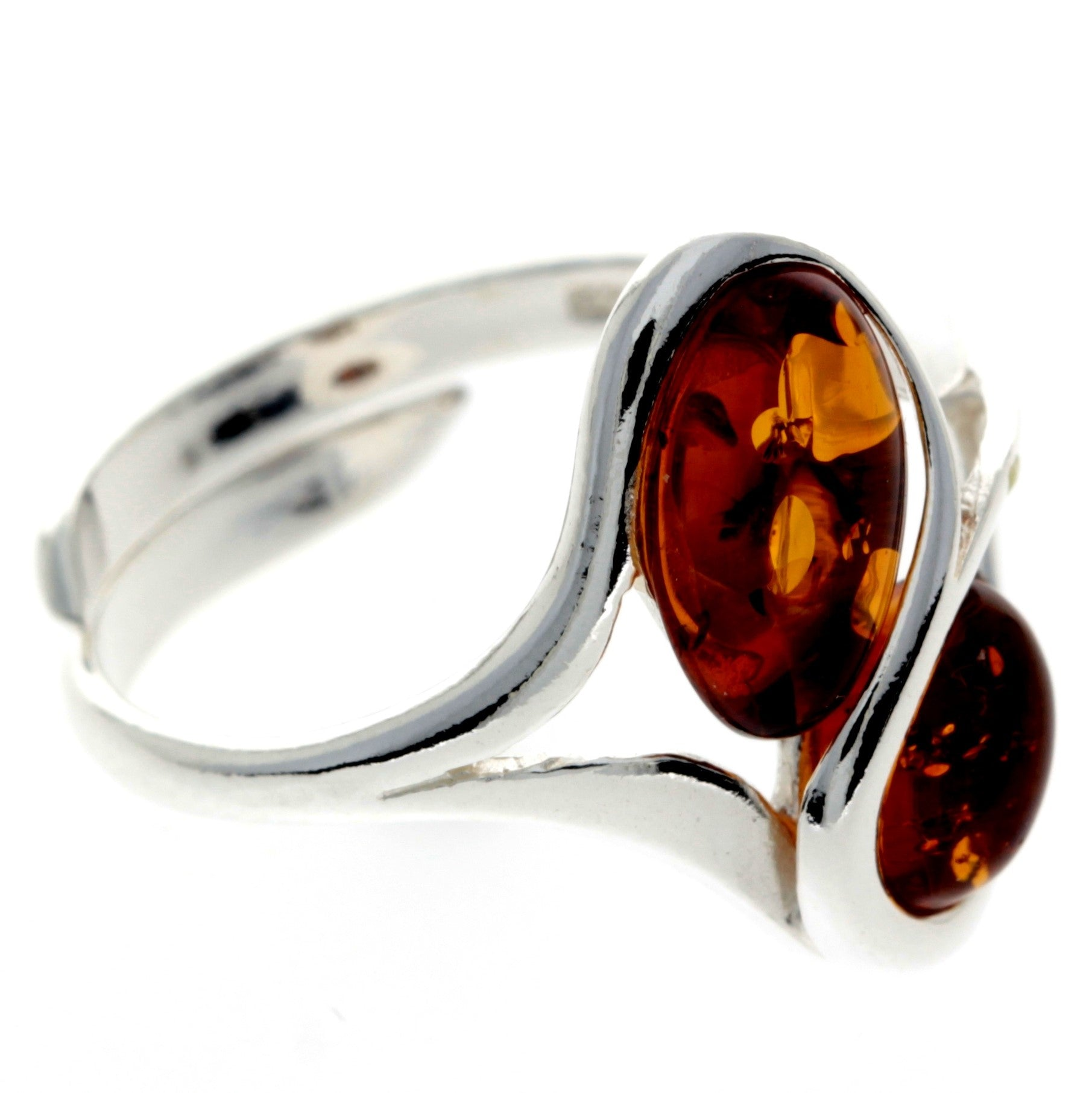 925 Sterling Silver & Baltic Amber Modern Adjustable Ring - GL405