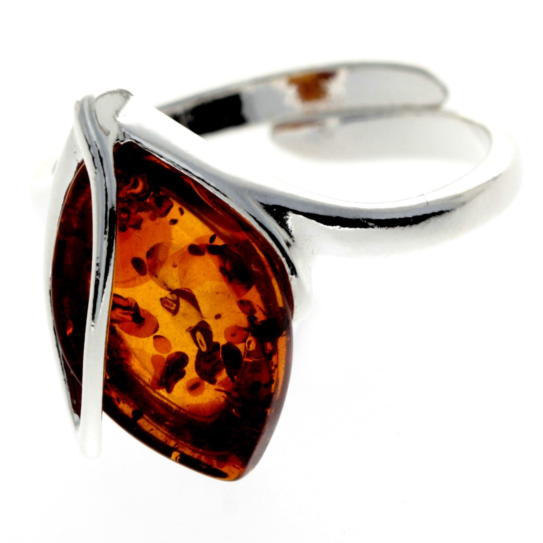 925 Sterling Silver & Baltic Amber Modern Adjustable Ring - GL469