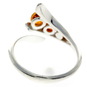 925 Sterling Silver & Baltic Amber 3 Stone Adjustable Ring