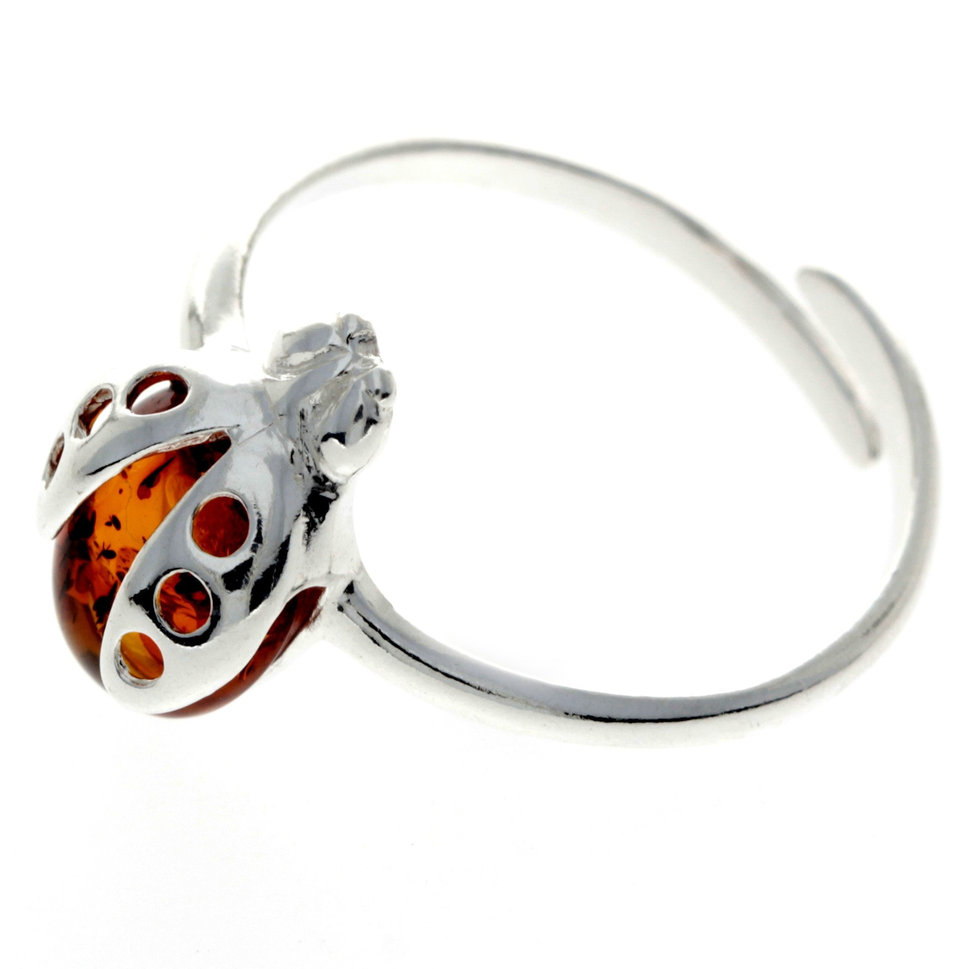 925 Sterling Silver & Baltic Amber Ladybird Adjustable Ring - GL491A