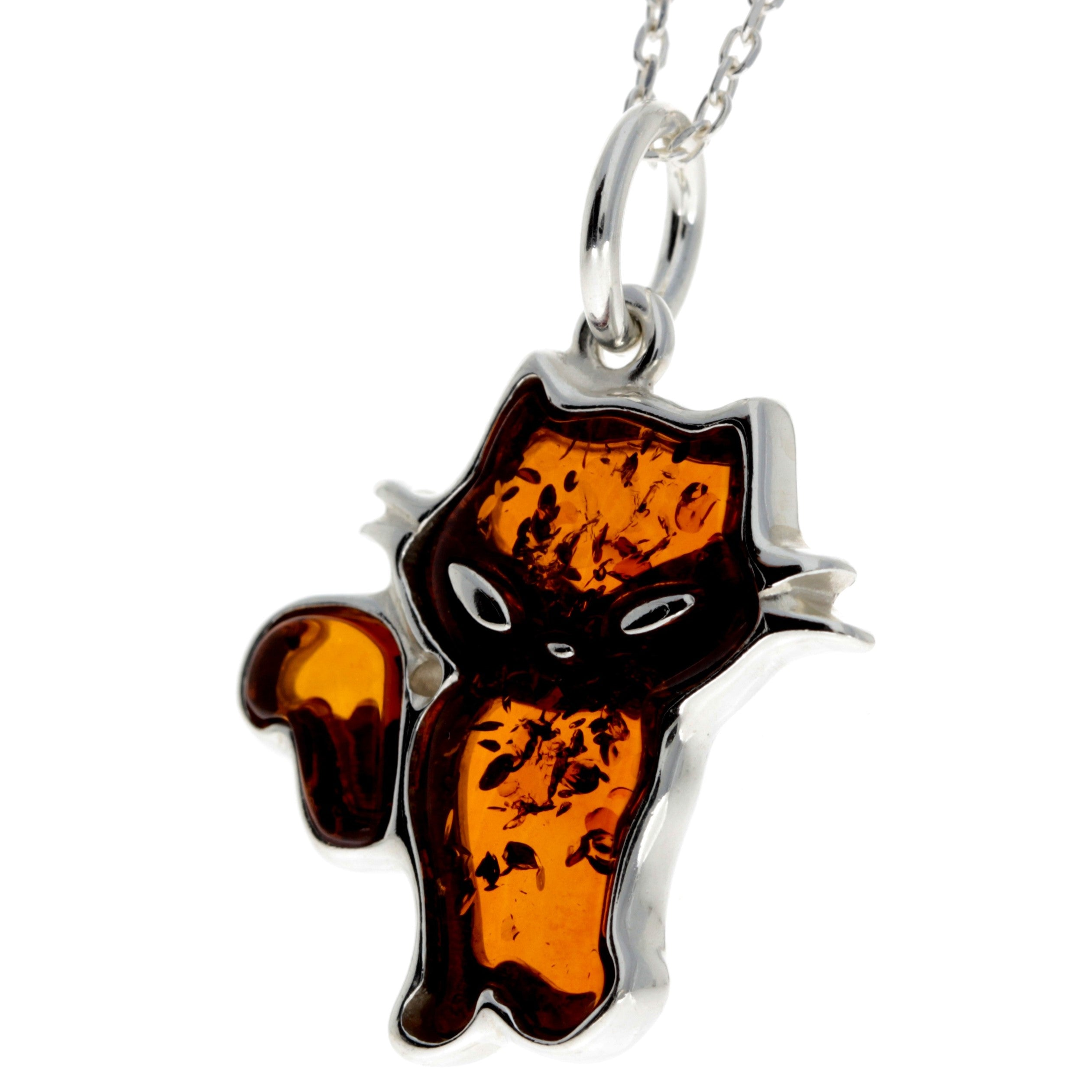 925 Sterling Silver & Baltic Amber Cat Pendant - AD213