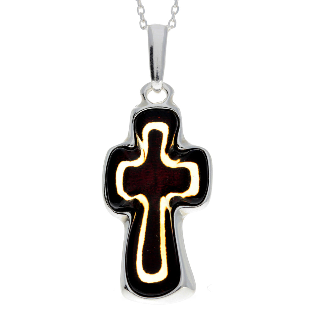 925 Sterling Silver & Baltic Amber Large Unique Cross Pendant - AD216