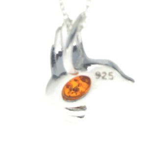 925 Sterling Silver & Baltic Amber Bird Pendant - GL399