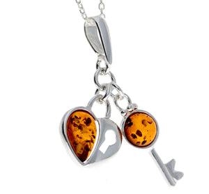 925 Sterling Silver & Baltic Amber Key & Heart Pendant - GL336