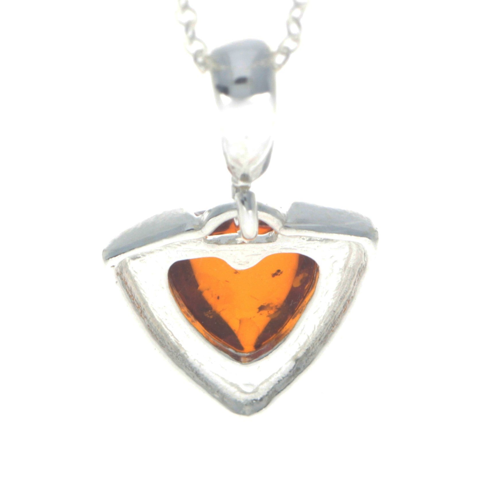 925 Sterling Silver & Baltic Amber Triangle Modern Pendant - GL2001