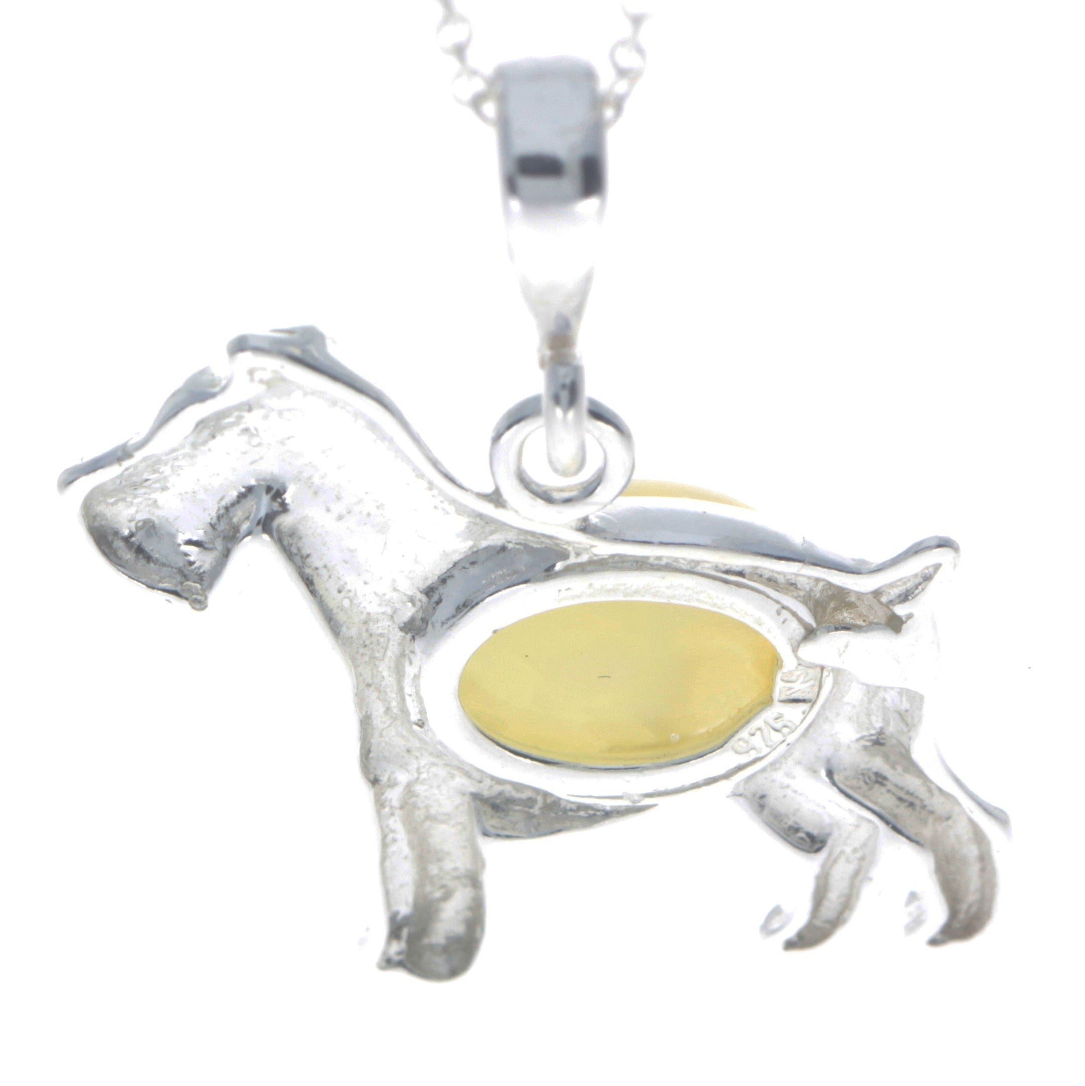 925 Sterling Silver & Baltic Amber Terrier Dog Pendant - M2006