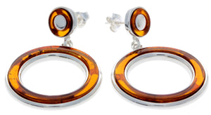 925 Sterling Silver & Baltic Amber Modern Drop Earrings - AC020