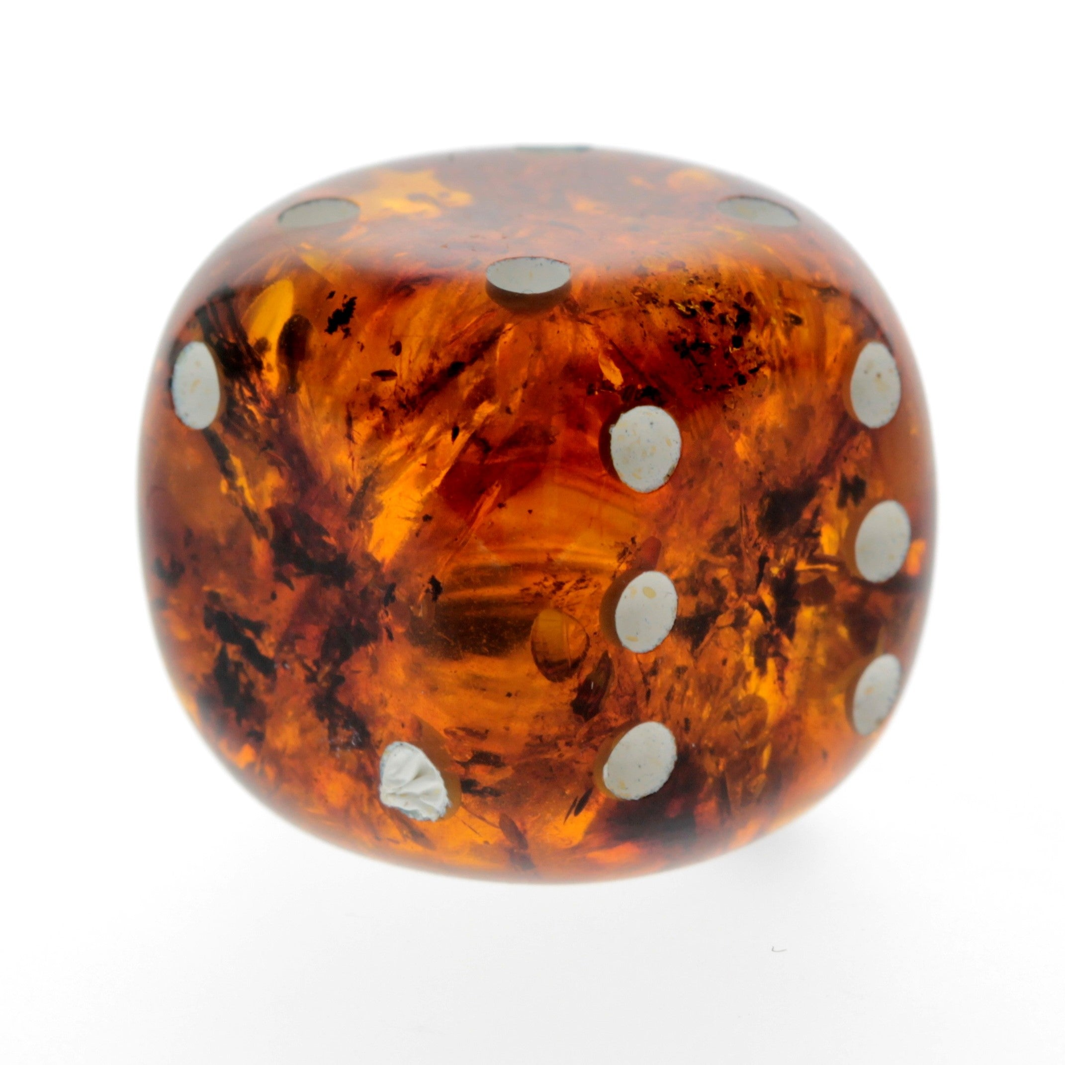 Genuine Baltic Amber Handmade Carving - Cube Dice with rounded corners - Ideal Men Gift