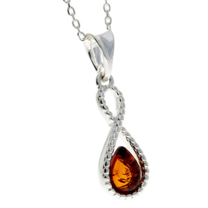 925 Sterling Silver & Baltic Amber Infinity Pendant - GL393
