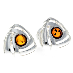 925 Sterling Silver & Baltic Amber Triangle Modern Earrings - GL032