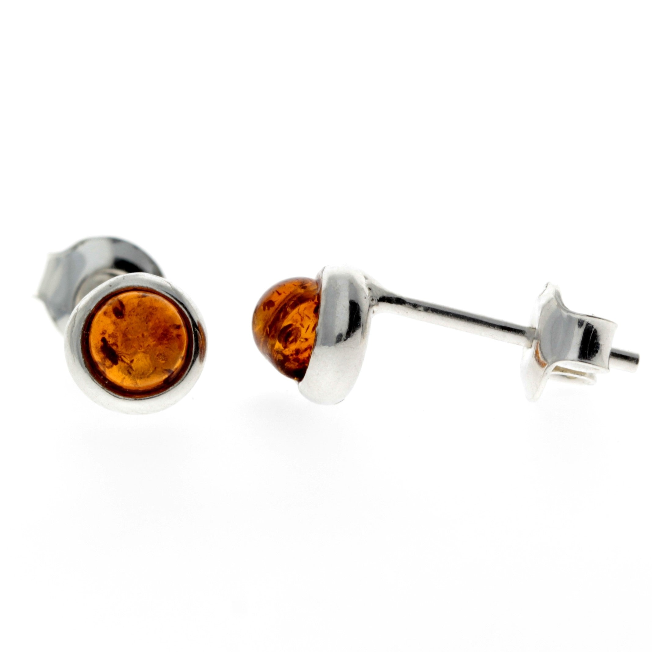 925 Sterling Silver & Baltic Amber Studs Earrings - K088