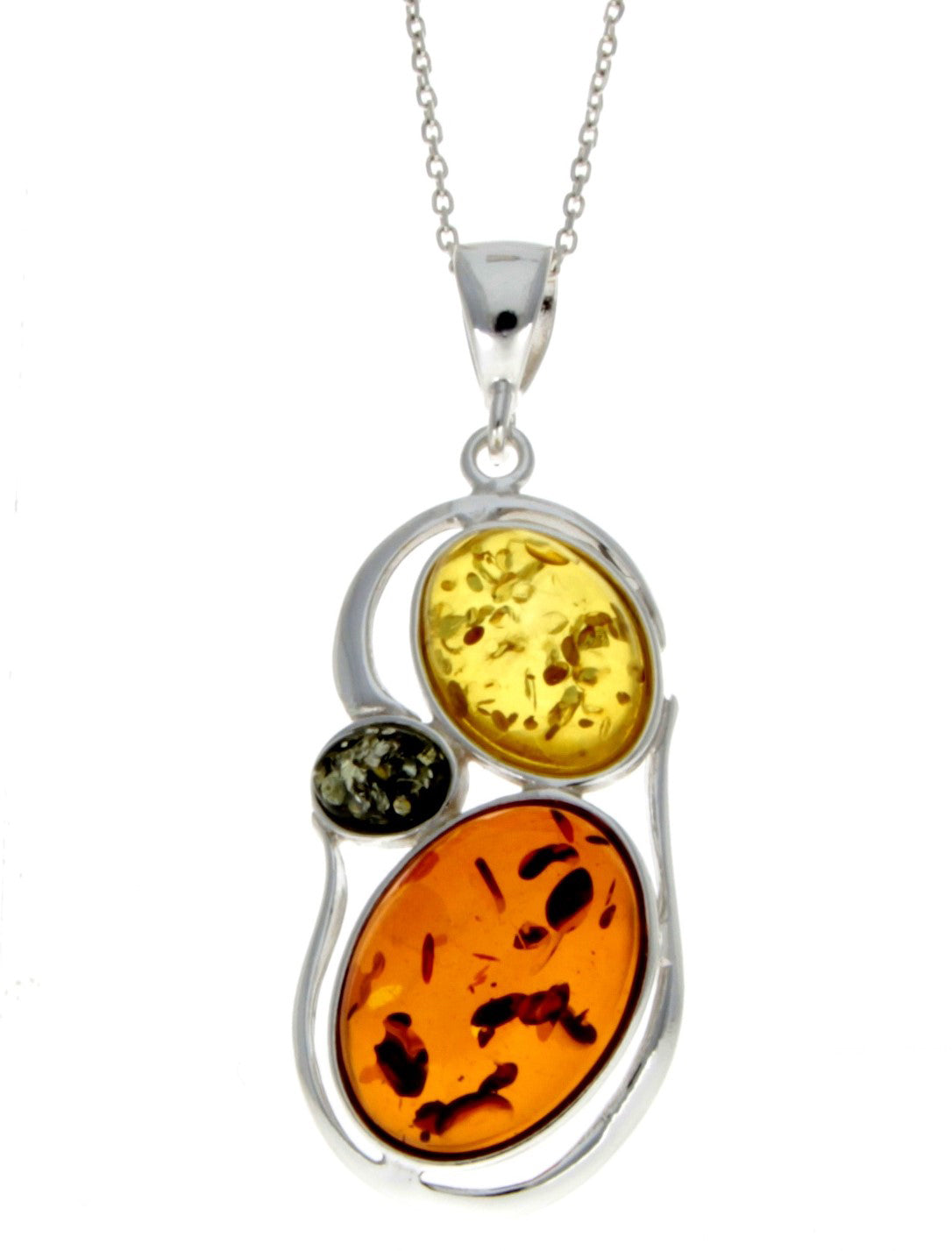 925 Sterling Silver & Baltic Amber 3 Stone Modern Pendant - M370