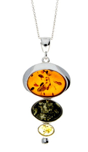 925 Sterling Silver & Baltic Amber 3 Stone Modern Pendant - M371