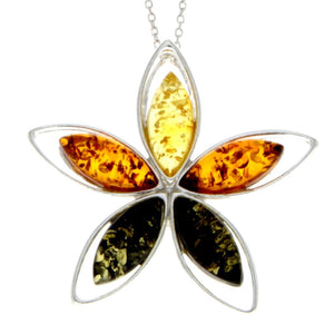 925 Sterling Silver & Baltic Amber 5 Stones Star Modern Pendant - M373