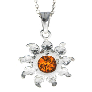 925 Sterling Silver & Baltic Amber Sun / Star Pendant - GL392