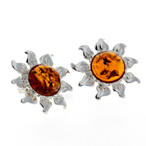 925 Sterling Silver & Baltic Amber Sun / Star Earrings - GL177