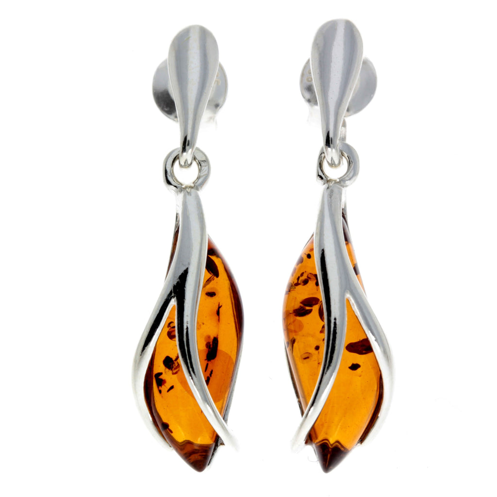 925 Sterling Silver & Baltic Amber Modern Earrings - GL131