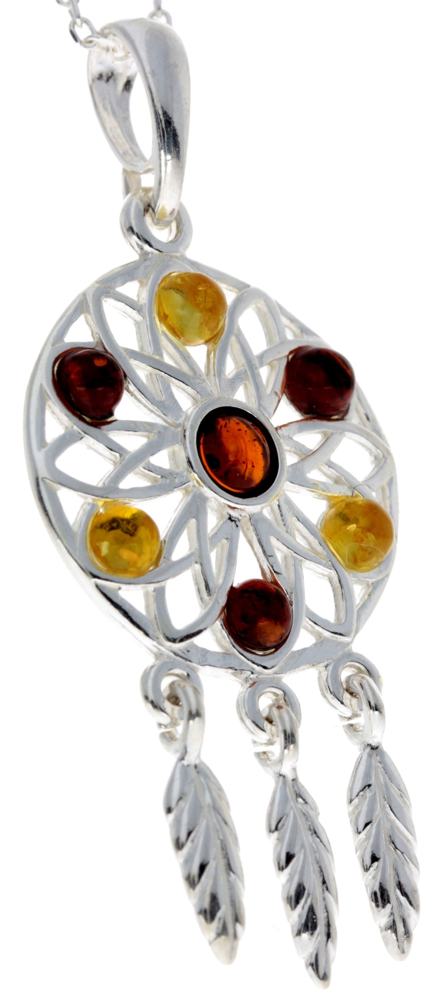 925 Sterling Silver & Baltic Amber Large Dream catcher Pendant - GL368S
