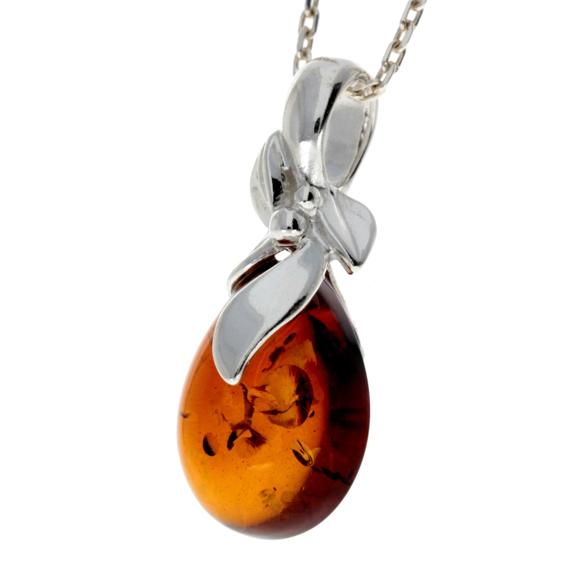 925 Sterling Silver & Baltic Amber Teardrop Classic Pendant - 1637