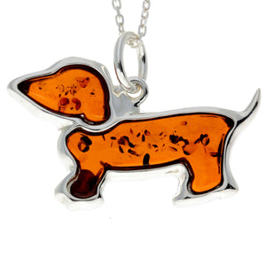925 Sterling Silver & Baltic Amber Basset Hound Dog Pendant - AD219