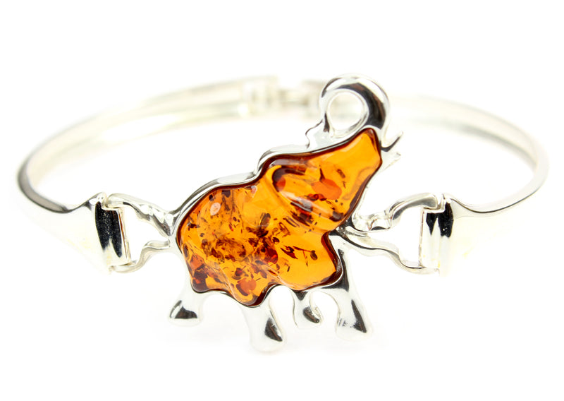 925 Sterling Silver & Baltic Amber Lucky Elephant Bangle - ADBL500