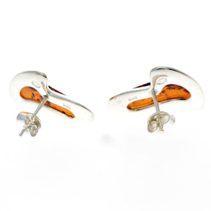 925 Sterling Silver & Baltic Amber Modern Heart Earrings - AC005
