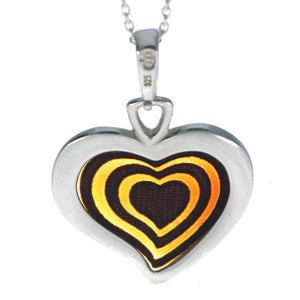 925 Sterling Silver Gold Plated & Baltic Amber Heart Engraved Pendant - AF204