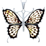 925 Sterling Silver & Baltic Amber Massive Butterfly Cherry Engraved Pendant - AF201B