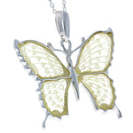 925 Sterling Silver & Baltic Amber Exclusive Engraved Butterfly Pendant - AF201