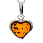 925 Sterling Silver & Baltic Amber Classic Heart Engraved Heart Pendant - AC203