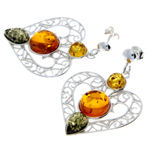 925 Sterling Silver & Baltic Amber Large Drop Hearts Earrings - M643