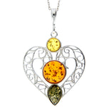 925 Sterling Silver & Baltic Amber Large Heart Pendant - M2005