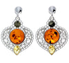 925 Sterling Silver & Baltic Amber Large Drop Earrings - M640