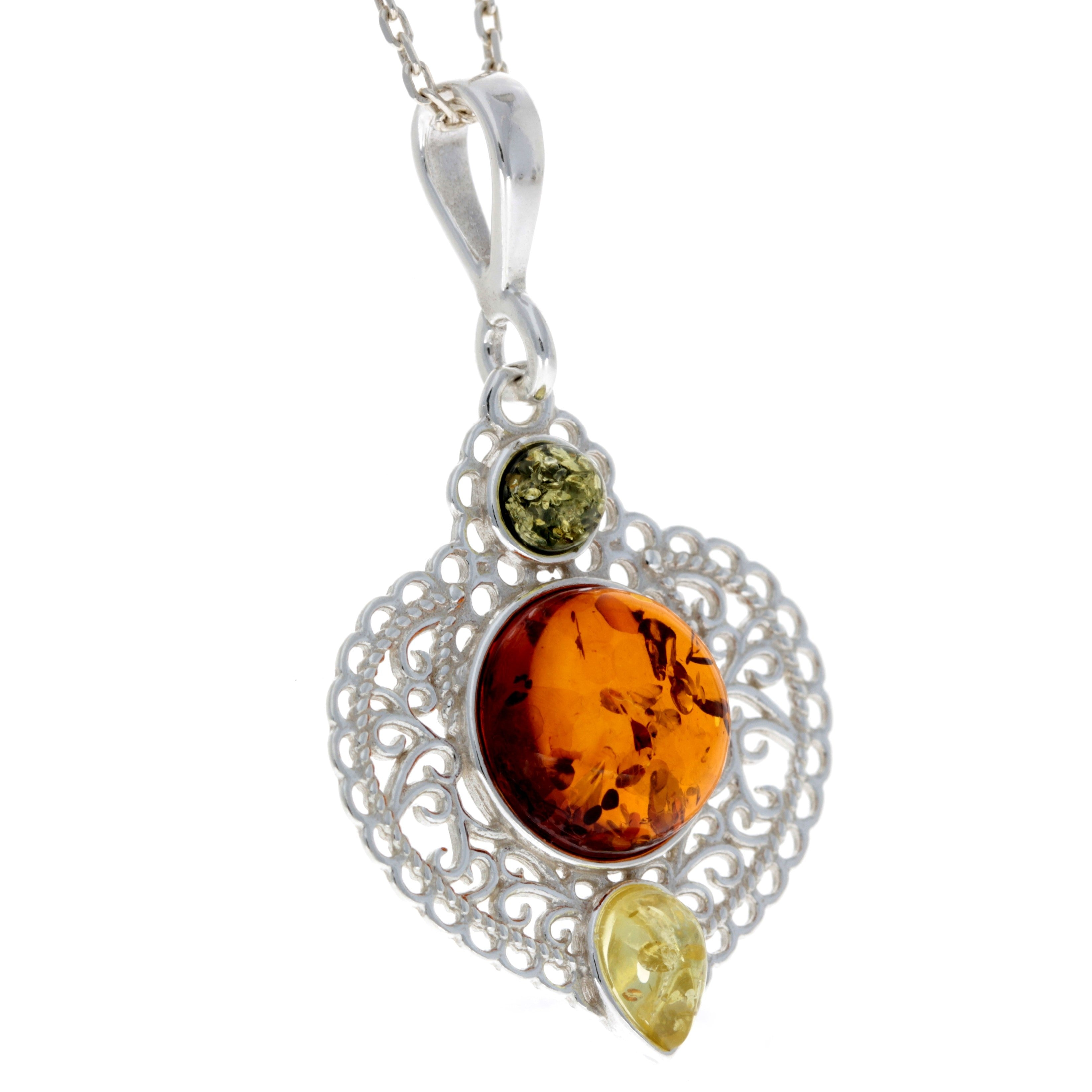 925 Sterling Silver & Baltic Amber Modern Pendant - M382