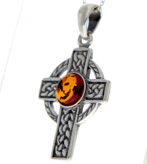 925 Sterling Silver & Baltic Amber Celtic Cross Pendant - 1640