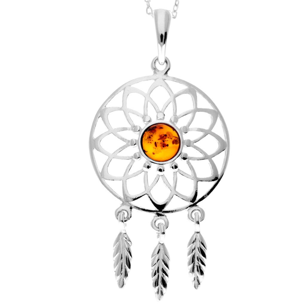 925 Sterling Silver & Baltic Amber Dream Catcher Pendant - GL2005