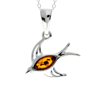 925 Sterling Silver & Baltic Amber Flying High Swallow Bird - GL396