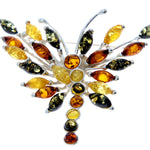 925 Sterling Silver & Baltic Amber Butterfly Unusual Brooch - 4155