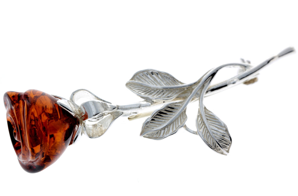 925 Sterling Silver & Baltic Amber Rose Brooch - AD804