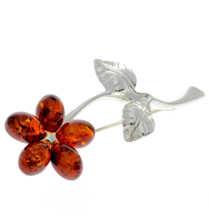 925 Sterling Silver & Baltic Amber Flower Brooch - AA801