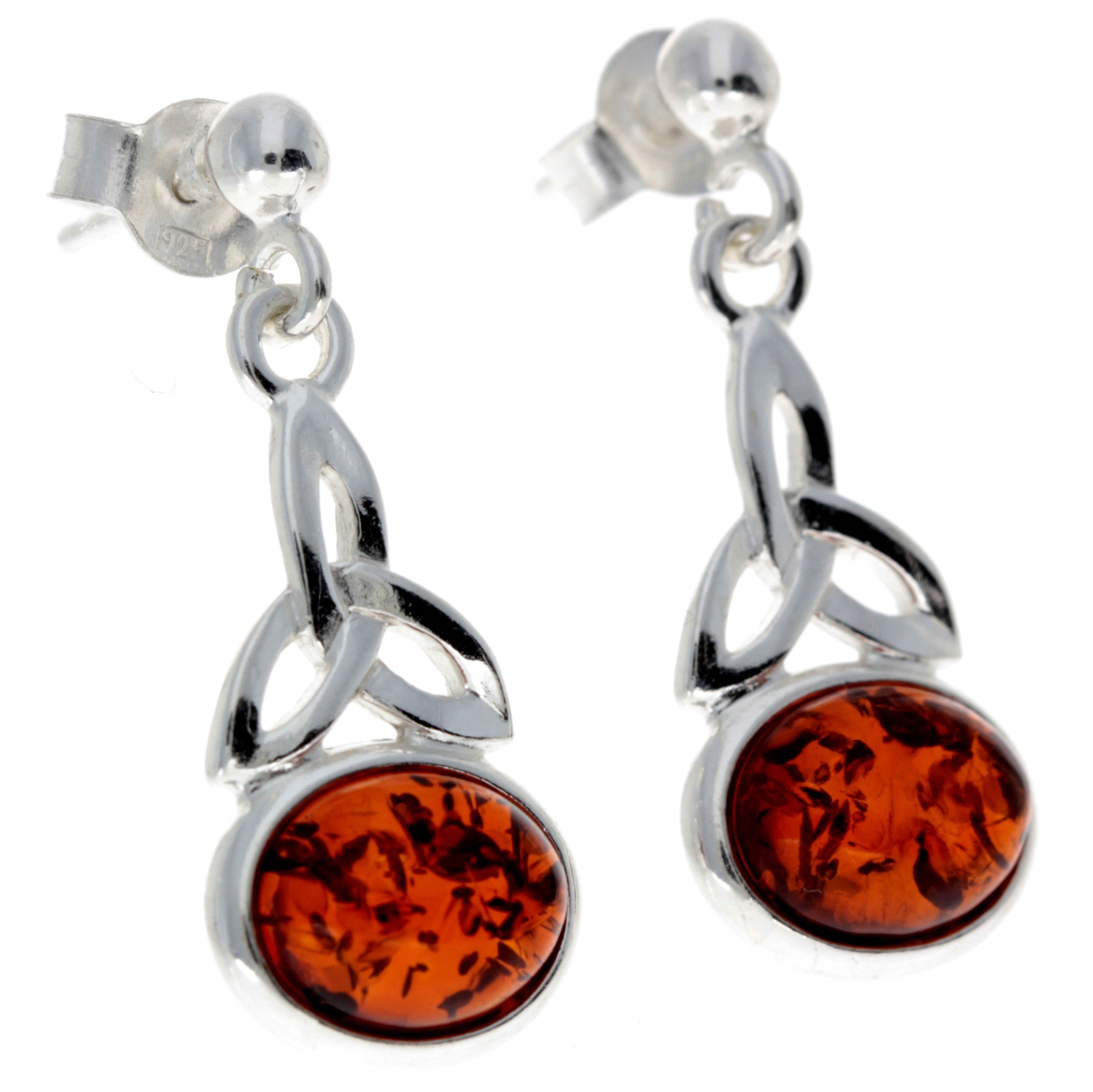 925 Sterling Silver & Baltic Amber Celtic Drop Earrings - 5425