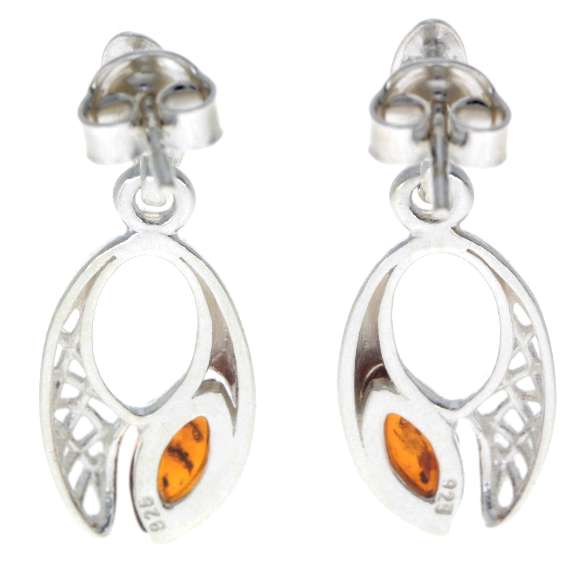 925 Sterling Silver & Baltic Amber Celtic Drop Earrings - GL179