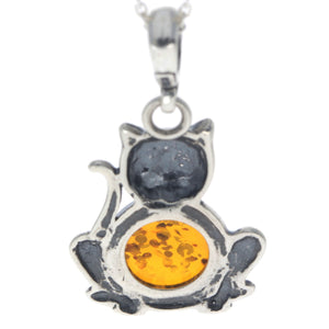 925 Sterling Silver & Baltic Amber Pussy Cat Pendant - 1677