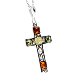 925 Sterling Silver & Baltic Amber Cross Pendant - M2000