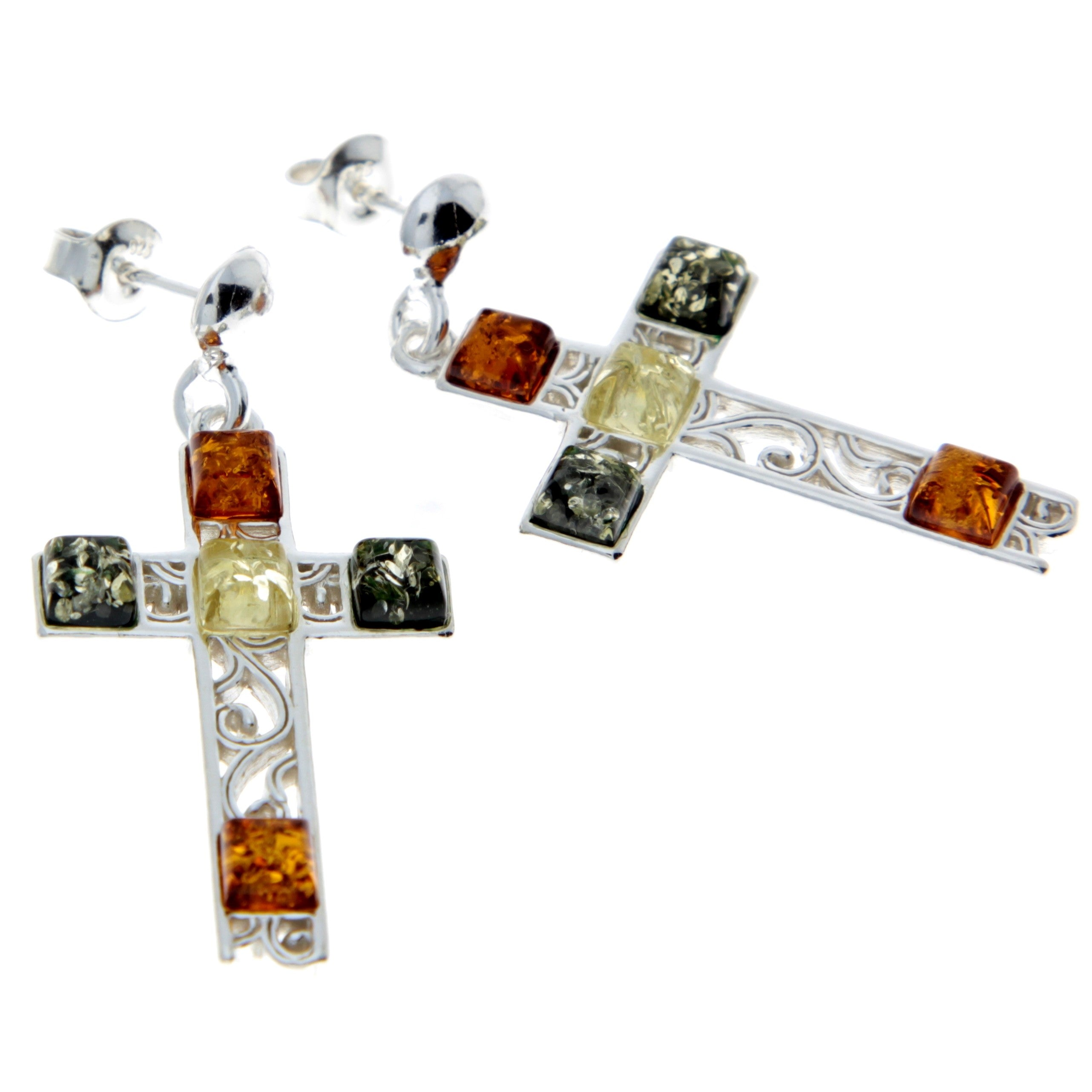 925 Sterling Silver & Baltic Amber Cross Earrings - M644