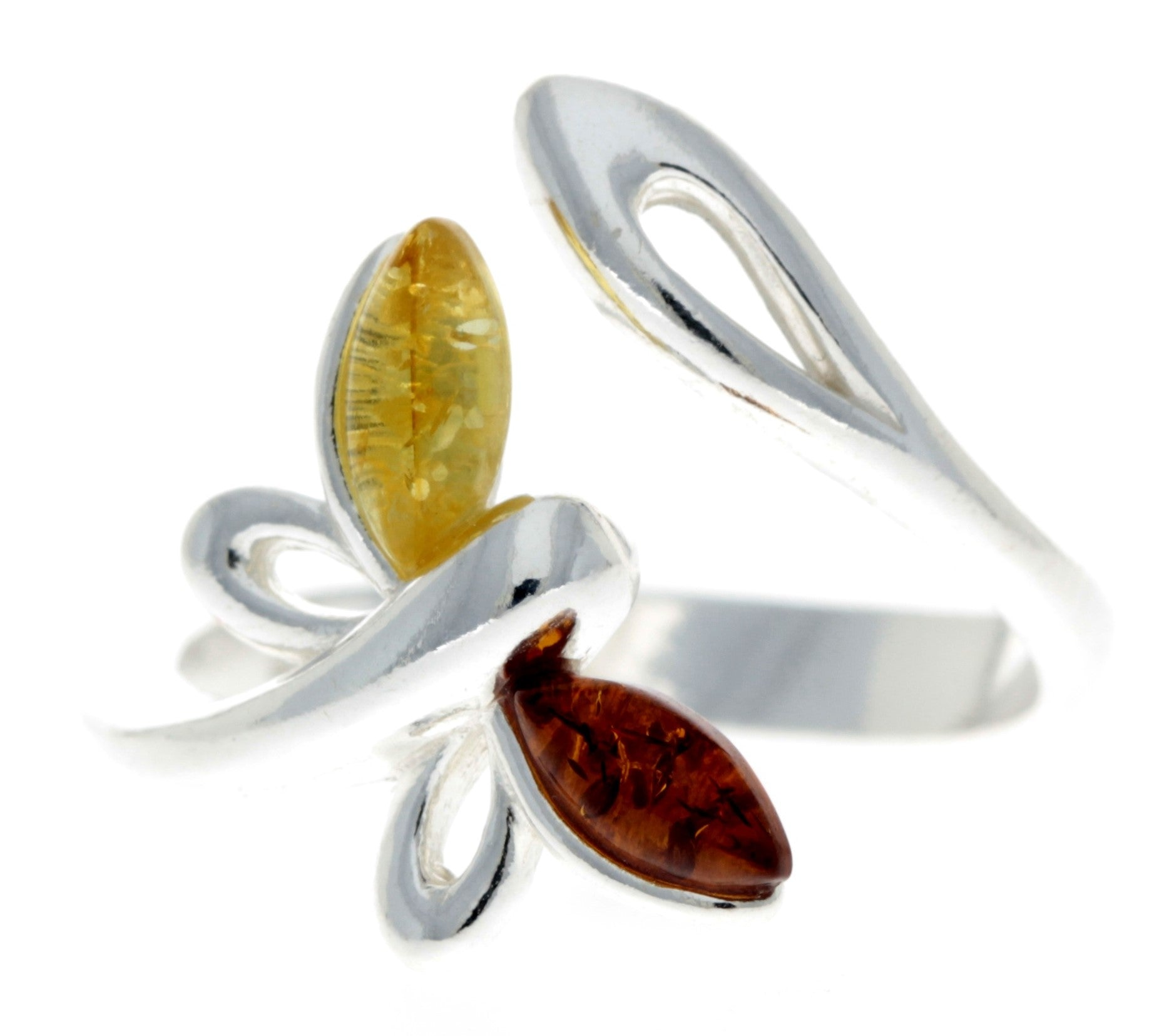 925 Sterling Silver & Baltic Amber Butterfly Adjustable Ring - GL721